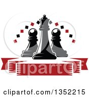 Clipart Of A Black Chess Queen Piece With Pawns A Diamond Arch And A Blank Red Ribbon Banner Royalty Free Vector Illustration