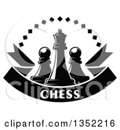 Clipart Of A Black And White Chess Queen Piece With Pawns A Diamond Arch And A Text Ribbon Banner Royalty Free Vector Illustration