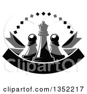 Clipart Of A Black And White Chess Queen Piece With Pawns A Diamond Arch And A Blank Ribbon Banner Royalty Free Vector Illustration
