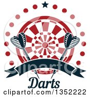 Clipart Of Navy Blue Throwing Darts Over A Target In A Circle Of Dots With A Star And Blank Ribbon Banner Over Text Royalty Free Vector Illustration