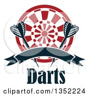Clipart Of Navy Blue Throwing Darts Over A Target With A Blank Ribbon Banner Over Text Royalty Free Vector Illustration