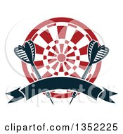 Clipart Of Navy Blue Throwing Darts Over A Target With A Blank Ribbon Banner Royalty Free Vector Illustration by Vector Tradition SM