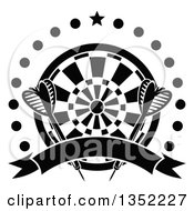 Clipart Of Black And White Throwing Darts Over A Target A Star Circle Of Dots And Blank Ribbon Banner Royalty Free Vector Illustration