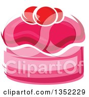 Clipart Of A Cartoon Pink Cake Garnished With Cranberries Royalty Free Vector Illustration