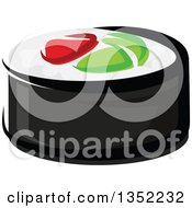 Clipart Of A Cartoon Smoked Salmon And Rice Sushi Roll Royalty Free Vector Illustration