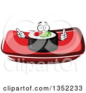 Clipart Of A Cartoon Smoked Salmon And Rice Sushi Roll Character On A Red Plate Royalty Free Vector Illustration