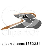 Clipart Of A Road Leading To A Tunnel Royalty Free Vector Illustration by Vector Tradition SM