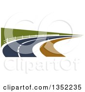 Clipart Of A Road Leading Through A Country Side Royalty Free Vector Illustration