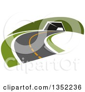 Clipart Of A Road Leading To A Tunnel Royalty Free Vector Illustration