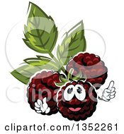 Clipart Of A Cartoon Blackberry Character Holding Up A Finger Royalty Free Vector Illustration