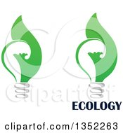 Clipart Of Green Leaf Light Bulbs With Ecology Text Royalty Free Vector Illustration