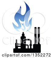 Clipart Of A Silhouetted Blue And Black Natural Gas And Flame Factory Royalty Free Vector Illustration