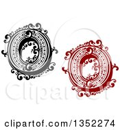 Clipart Of Retro Black And White And Red Capital Letter O Designs With Flourishes Royalty Free Vector Illustration
