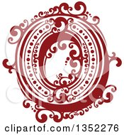 Clipart Of A Retro Red And White Capital Letter O With Flourishes Royalty Free Vector Illustration