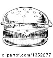 Clipart Of A Black And White Sketched Cheeseburger Royalty Free Vector Illustration