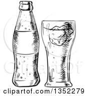 Clipart Of A Black And White Sketched Soda And Glass Royalty Free Vector Illustration