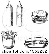 Clipart Of A Black And White Sketched Ketchup And Mustard Bottles Cheeseburger Hot Dog And French Fries Royalty Free Vector Illustration by Vector Tradition SM