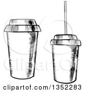 Clipart Of Black And White Sketched Take Out Coffee And Soda Cups Royalty Free Vector Illustration