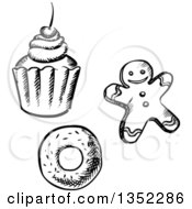 Clipart Of A Black And White Sketched Cupcake Gingerbread Man Cookie And Donut Royalty Free Vector Illustration by Vector Tradition SM