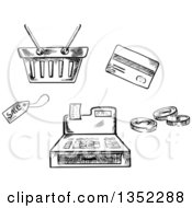 Clipart Of A Black And White Sketched Sales Tag Basket Credit Card Coins And Cash Register Royalty Free Vector Illustration by Vector Tradition SM