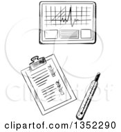 Clipart Of A Black And White Sketched Thermometer Medical Chart And Graph Royalty Free Vector Illustration by Vector Tradition SM