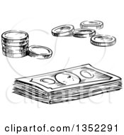 Clipart Of Black And White Sketched Coins And Cash Money Royalty Free Vector Illustration by Vector Tradition SM