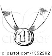 Clipart Of A Black And White Sketched First Place Medal Royalty Free Vector Illustration by Vector Tradition SM