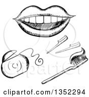 Clipart Of A Black And White Sketched Mouth Floss And Toothbrush Royalty Free Vector Illustration by Vector Tradition SM