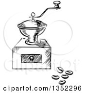 Clipart Of A Black And White Sketched Vintage Coffee Grinder And Beans Royalty Free Vector Illustration