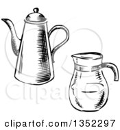 Clipart Of Black And White Sketched Porcelain And Glass Coffee Pots Royalty Free Vector Illustration