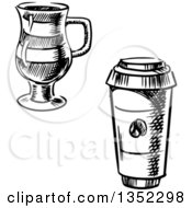 Clipart Of Black And White Sketched Glass And Take Out Coffee Cups Royalty Free Vector Illustration