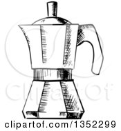Clipart Of A Black And White Sketched Italian Coffee Maker Royalty Free Vector Illustration