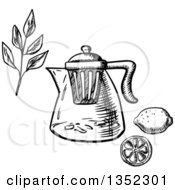 Clipart Of A Black And White Sketched Teapot With Infuser Strainer Tea Branch And Lemon Royalty Free Vector Illustration