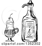 Clipart Of A Black And White Sketched Irish Coffee Drink And Bottle Liqueur Royalty Free Vector Illustration by Vector Tradition SM