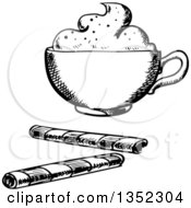 Clipart Of A Black And White Sketched Coffee With Cream And Wafer Rolls Royalty Free Vector Illustration