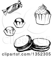 Clipart Of A Black And White Sketched Cupcake Macaroon Truffles And Candy Royalty Free Vector Illustration by Vector Tradition SM