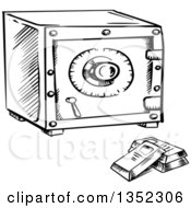 Clipart Of A Black And White Sketched Safe And Bullion Gold Bars Royalty Free Vector Illustration by Vector Tradition SM