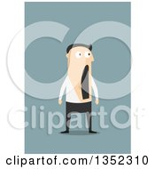 Clipart Of A Flat Design White Businessman Gawking In Surprise Over Blue Royalty Free Vector Illustration