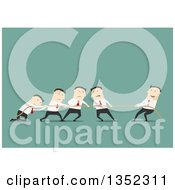 Flat Design Team Of White Business Men Engaged In Tug Of War Over Green