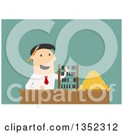 Clipart Of A Flat Design White Businessman Counting Coins And Using An Abacus Over Green Royalty Free Vector Illustration