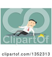 Clipart Of A Flat Design White Businessman Slipping On A Banana And Falling In A Puddle Over Green Royalty Free Vector Illustration by Vector Tradition SM