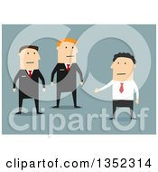 Clipart Of A Flat Design White Businessman Talking To Guards Over Blue Royalty Free Vector Illustration