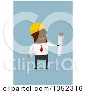 Flat Design Black Male Contractor Worker Holding Plans On Blue