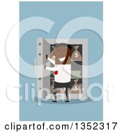 Clipart Of A Flat Design Black Businessman Opening A Vault Full Of Money On Blue Royalty Free Vector Illustration by Vector Tradition SM
