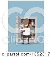 Poster, Art Print Of Flat Design Black Businessman Opening A Vault Full Of Money On Blue