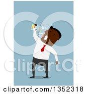 Clipart Of A Flat Design Black Businessman Taking Vitamins Or Drugs Over Blue Royalty Free Vector Illustration