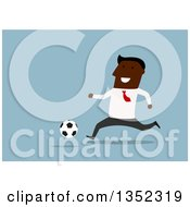 Clipart Of A Flat Design Black Businessman Playing Soccer Over Blue Royalty Free Vector Illustration