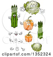 Clipart Of Cartoon Faces Hands Asparagus Orange Bell Peppers And Cauliflower Royalty Free Vector Illustration