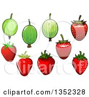 Clipart Of Cartoon Gooseberries And Strawberries Royalty Free Vector Illustration by Vector Tradition SM