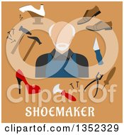 Clipart Of A Flat Design Senior White Male Shoe Maker With Tools Over Text On Brown Royalty Free Vector Illustration by Vector Tradition SM